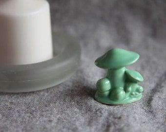 Ceramic Toadstool Mushroom in Mint Green