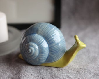 Stoneware Snail in Pear Green and Sky Blue Garden Sculpture (medium)