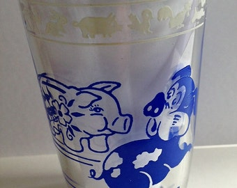 Vintage Swanky Swig Kraft Glass Kiddie Kup Pattern with Blue Baby Animals 1956