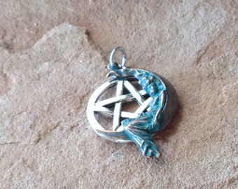 Lady on the Moon Pentagram Pendant, Verdigris Copper Stamping and Sterling Silver Ear Wires Beautiful Ritual Wear for Priestess and Witch