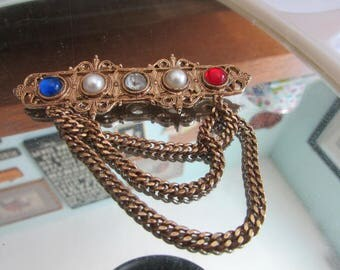 vintage colorful chain brooch