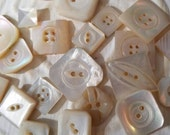 Vintage Buttons - Amazing mother of pearl, 25 small  to midsized square assorted carved  designs,  some Victorian(feb 138 17)
