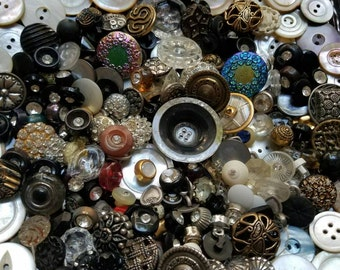 Save 20 % - coupon code save20. Vintage Buttons, Great Value- Huge lot 268  lots of rhinestones, mother of pearl  metal, glass ,(lrg12)