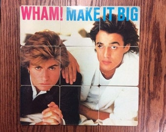Wham handmade wood coasters with vinyl record bowl from recycled Make It Big music album cover