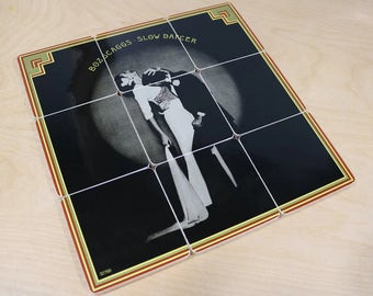 Boz Scaggs handmade wood coasters and vinyl bowl created from recycled Slow Dancer record album