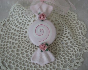 Hand Painted Large Pink Candy Ornament Pink Roses, Glitter