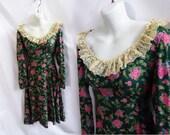 Vintage 70s Dress Size M Green Pink Floral Hippie Boho Prairie 60s Disco Lolita