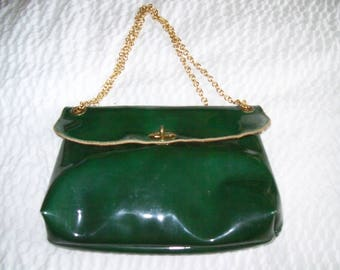 Vintage green patent leather clutch purse with long chain strap-Coba of Boston!