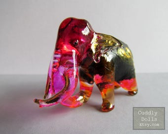 Pink Black ELEPHANT Blown Art Glass Animal Figurine, Painted Elephant Figurine Collector,Glass Figurine,Elephant Figurine,Wild Animal,Zoo