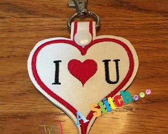 Valentine Snap Tab I Heart U heart shaped ITH Snap Tab 4x4 Hoop embroidery design ** Not Physical Item** Must have embroidery machine**