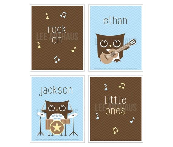 13S Personalized Twin Boys Musical Owl Nursery Wall Art - Chevron Blue and Brown Print Set - Set of 4 Prints - Drum Art - Guitar Art