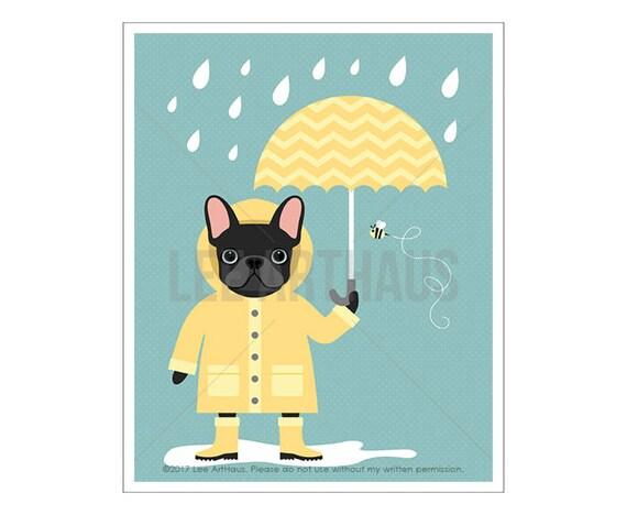 64D Dog Print - Black French Bulldog in Yellow Raincoat with Umbrella Wall Art - Frenchie Print - Umbrella Wall Decor - French Bulldog Print