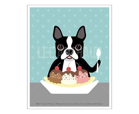 220D Funny Dog Art - Boston Terrier Eating Banana Split Wall Art Print - Ice Cream Wall Art - Boston Terrier Art - Dog Eating Ice Cream