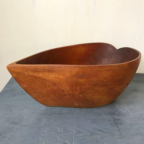 vintage wood bowl - large handmade leaf serving - centerpiece display - brown woodgrain