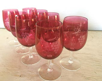 cranberry wine glasses - etched grape design - ruby red flash deep water goblets with clear stems - set of 8 vintage barware supplies
