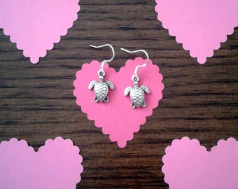 Tibetan Silver Turtle Charm Earrings with Sterling Silver Ear Wires