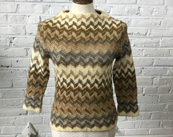 1960s Funnel Neck Sweater with Herringbone Chevron Pattern, size XS-S