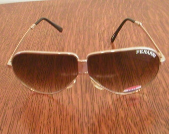 Ferarri Sunglasses Eyewear Aviator Style Folding Glasses With Case New Old Stock Vintage