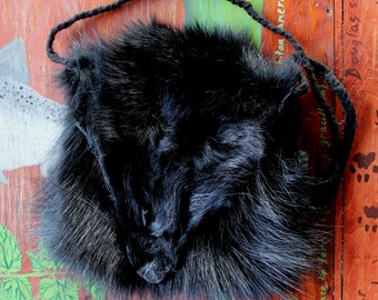 Real black dyed raccoon fur pouch with yarn cord pelt hide skin totem bag