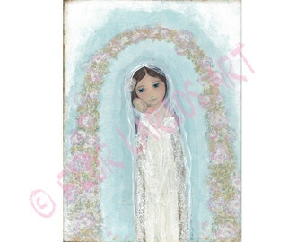 Mother with Newborn - Folk Art  Print from Painting (8 x 10 inches PRINT) by FLOR LARIOS