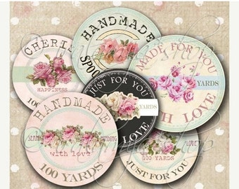 SALE SHABBY SPOOLS Collage Digital Images - printable download file Digital Collage Sheet Vintage Paper Scrapbook