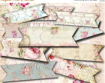 SALE BANNER STRIPS collage Digital Images  -printable download file- Digital Collage Sheet Vintage Paper Scrapbook