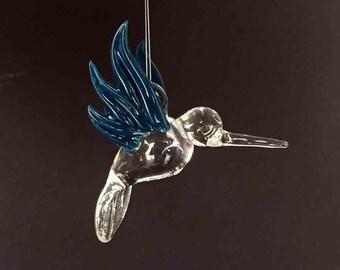 Hand Blown Glass Hummingbird, Teal Wings, Christmas Ornament, Suncatcher, Fan Pull
