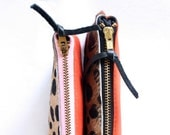 custom zipper Color Block -Leopard Print and Orange  Pouch