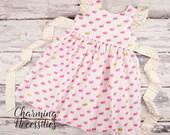NEW Toddler Girl Easter Bunny Dress, Spring Dress, Clothes, Girls Beach Dress, Flutter Sleeve Pinafore Dress, Hot Pink and Metallic Gold