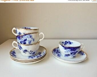 Sale 4 Flow Blue Cups Saucers  Duchess Pattern W.H. Grindley