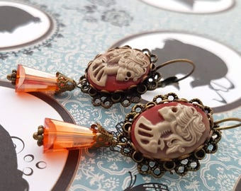 Brown Orange Skeleton Lady Cameo Leverback earrings - Classic Gothic Colorful