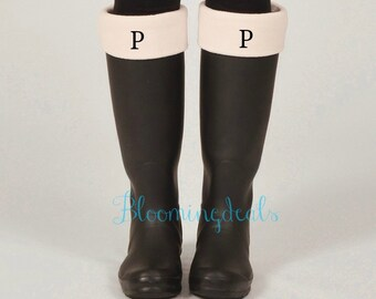 Monogrammed Ivory Fleece Boot Socks, Personalized Boot Cuff, Christmas Gift Under 30 Dollars Cyber Monday Sale