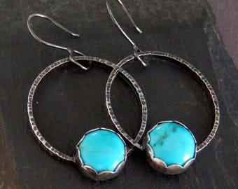 Turquoise earrings / Sleeping Beauty turquoise earrings / turquoise jewelry / December birthstone / hoop earrings / genuine turquoise / gift