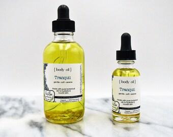 Organic Body Oil -Tranquil: lavender, orange, ylang ylang essential oils  - 1 or 4 oz, vegan