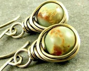 Jasper Earrings, Wire Wrap Earrings,  Earthy Earrings Eco Friendly Jewelry Gifts for Her