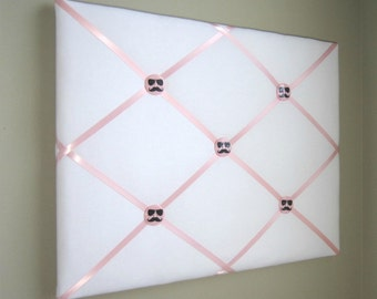 "16""x20"" White  Light Pink French Memory Board, Bow Holder, Bow Board, Vision Board, Photo Display, Business Card Display, Ribbon Board, Teen"