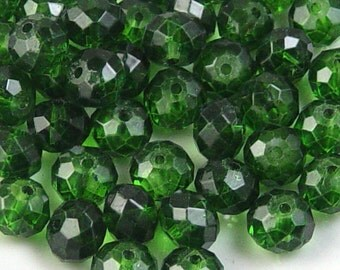 Glass Bead 12 Green Rondelle Faceted 10mm x 7mm (1014gla10g5)