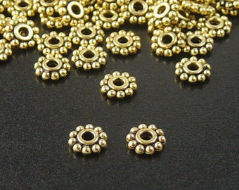 Bead Spacer 100 Antique Golden Flower Daisy 6.5mm NF Gold (1020spa06d1)xz