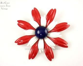 Red White & Blue Patriotic Enamel Flower Brooch Vintage 1970s