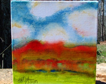 Spring Celebration Landscape, abstract, Original Mixed Media painting. 8 x 8