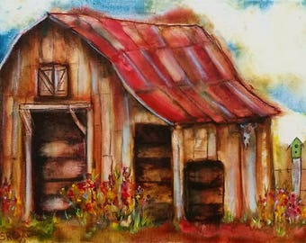 Your barn portrait, custom order. ORIGINAL Mixed Media painting, gallery wrap canvas