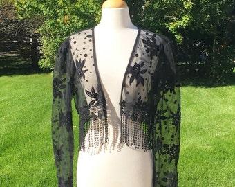 Vintage 80s Black Velvet Sheer Long Sleeve Floral Cardigan Open Front Bolero Shrug