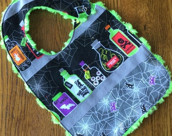 Halloween Bib with Creature Jars Minky Baby/Toddler Bib