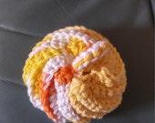 "Citrus Tawashi Dish Cloth Crochet Scouring Pad Scrubby bath pouf puff scrubber exfoliating  with loop cotton 3"" lemon yellow"