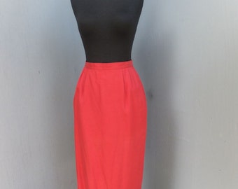 Vintage Red Pencil Skirt, Marc D Alcy, Silk and Cotton Career Skirt, Valentines Day, Holiday Skirt, Size 6