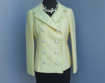 Vintage 1960s/70s Jacket, Yellow, Double Breasted Jacket, Silver Rhinestone Buttons, Medium
