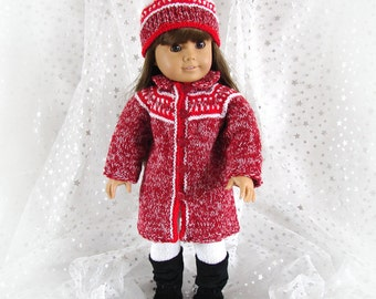 Red Doll Coat and Hat 18 inch Doll Knit Coat and Hat American Girl Doll Red and White Coat and Hat Red and White Tweed Doll Coat and Hat