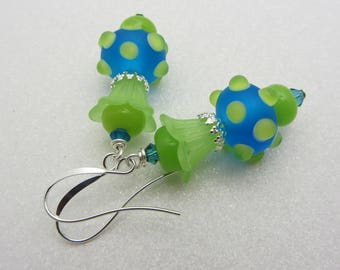 Lampwork Earrings Lampwork Glass Artisan Earrings Aqua Blue with Lime Green Bumpy Dots Earrings Funky Earrings SRAJD Mothers Day Gift