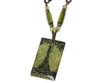 Paris Eiffel Tower hand painted and stamped pendant on brass chain necklace