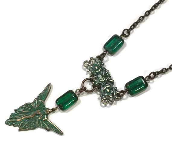 Emerald Green Fairy Necklace with Filigree accent and Brass Chain